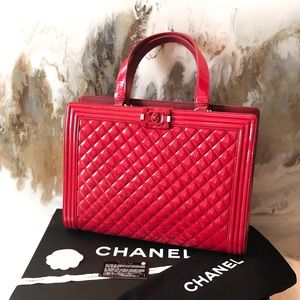 Chanel Plexiglass Red Patent Quilt Boy Tote Bag